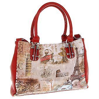 Elegance Large Printed Handbag Shopper Tote Bag Cities Design