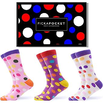 Men's bright spotty gift box 3 pairs of socks