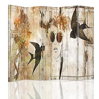 Room Divider, 5 Panels, Double-Sided, 360 ° Rotatable, Canvas, Girl In Glasses And Swallows