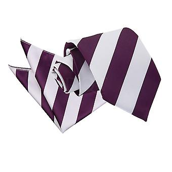 Men's Striped Purple & White Tie 2 pc. Set