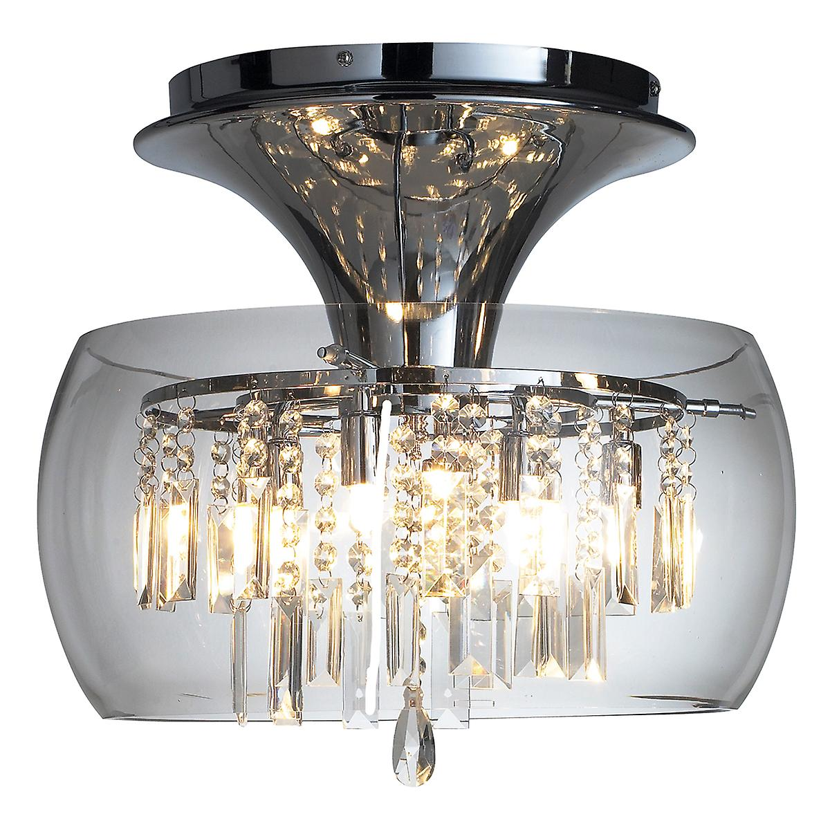 Dar LOC508 Loco 6 Light Semi-Flush Ceiling Light With Clear Glass Crystal