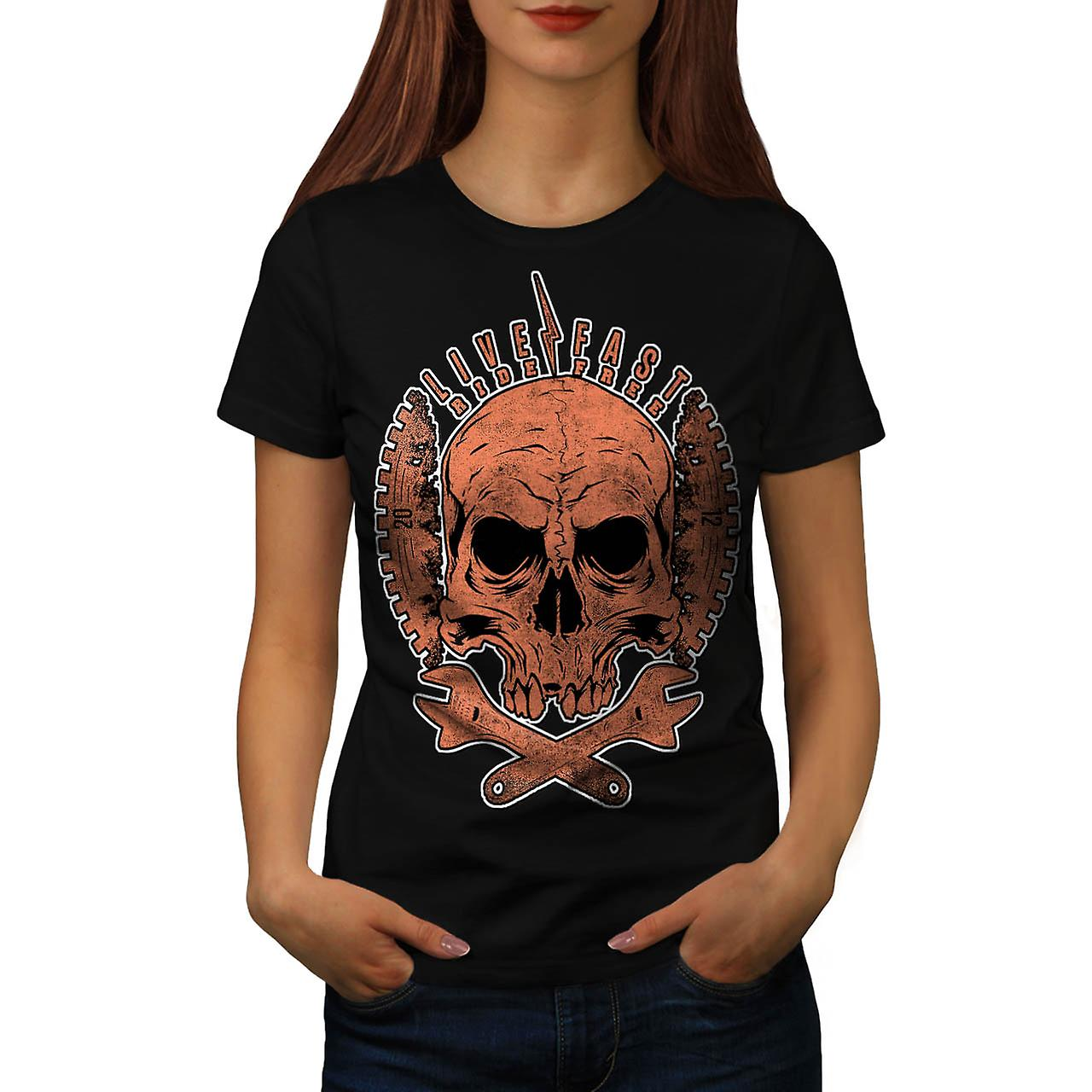 Live Fast Ride Free Biker Skull Women Black T-shirt | Wellcoda