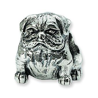 Sterling Silver Polished Antique finish Reflections Bulldog Bead Charm