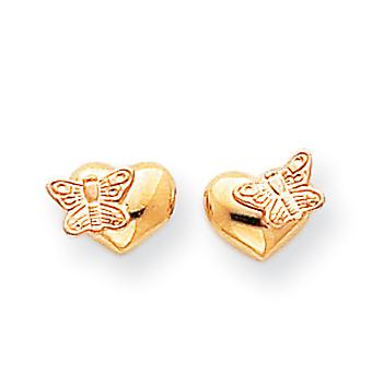 14k Gold Polished and Rhodium Butterfly Heart Screwback Earrings - .4 Grams - Measures 6x9mm