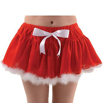Ladies Christmas Velvet Red with White Fur Trim Tutu Fancy Dress Accessory