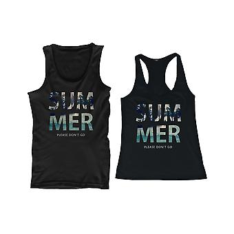 SUMMER Please Don' Cute His and Hers Matching Couple Beach Tank Tops