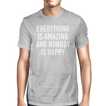 Everything Amazing Nobody Happy Man's Heather Grey Top T-shirt