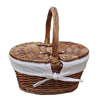 Childs Light Steamed Finish White Lined Oval Picnic Basket
