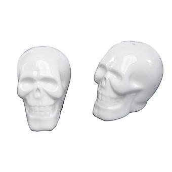 Smilende skelet kranier Halloween Salt og peber Shaker sæt