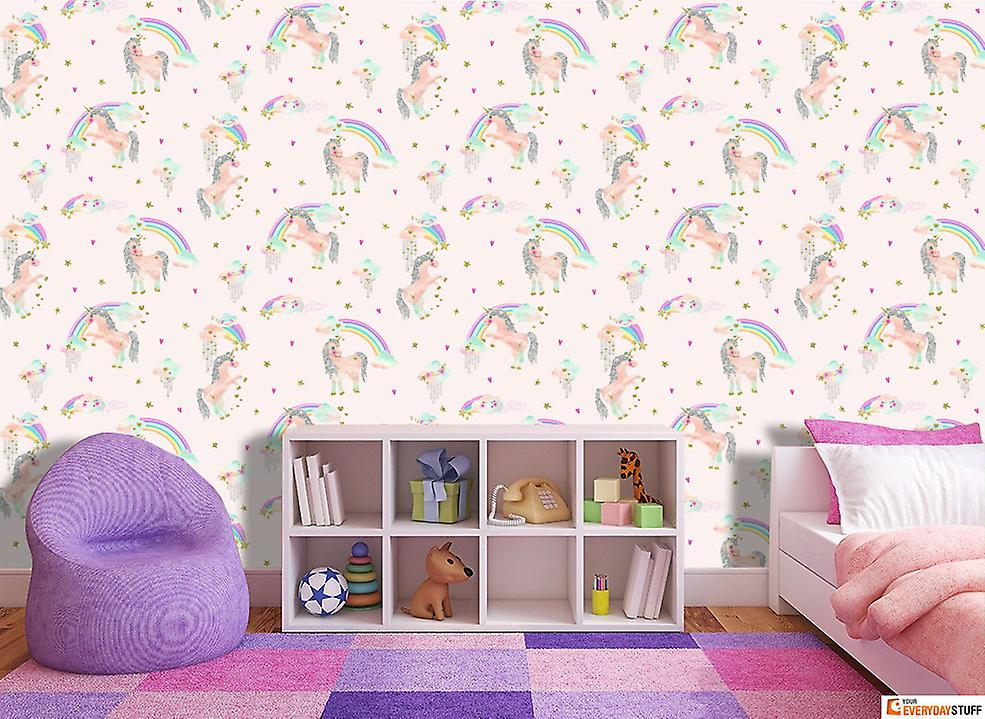 Rainbow Unicorn Wallpaper Girls Bedroom Glitter Sparkle Pink Silver Arthouse
