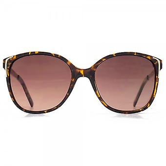 Glare Eyewear Mila Gold Filigree Temple Sunglasses In Tortoiseshell