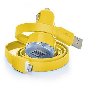 ONX3 HTC Wunsch 10 Pro gelb Twin Port USB Mini Kugel In Kfz-Ladegerät-Adapter inkl. 1 Micro-USB-Daten-Transfer/Ladekabel