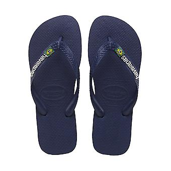 Havaianas Brasil Logo - Navy Blue Mens Sandals