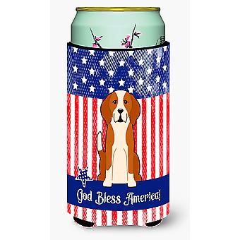Patriotic USA English Foxhound Tall Boy Beverage Insulator Hugger