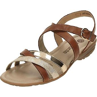 Remonte Flat Strappy Brown Gladiator Leather Sandals