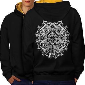 Patroon Art Cool mode mannen zwart (gouden kap) Contrast Hoodie Back | Wellcoda