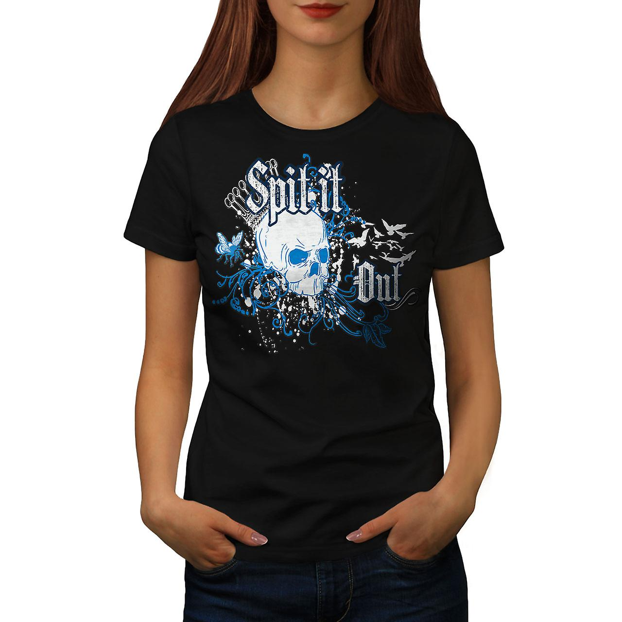 Spit It Out Queen Skull Women Black T-shirt | Wellcoda