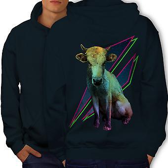 Cow Fashion Beast Animal Men NavyHoodie Back | Wellcoda