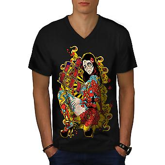Schmutzige Rose Skull Männer BlackV-Neck T-shirt   Wellcoda