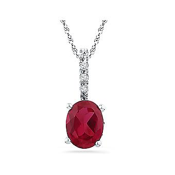Lab Created Solitaire Red Ruby 1.00 Carat (ctw) Sterling Silver Pendant Necklace
