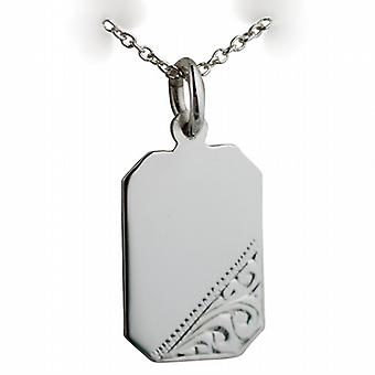 Silver 18x12mm hand engraved cut corner rectangular Disc with a rolo Chain 24 inches