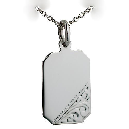 Silver 18x12mm Hand engraved cut corner rectangular Disc with a Rolo chain