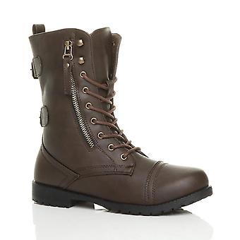 Ajvani dame flad hæl blonder op zip bekæmpe hær militær ankelstøvler