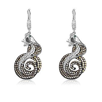 Earrings snake Cobra cash and 430 Crystal Swarovski Cubic Zirconia green and white