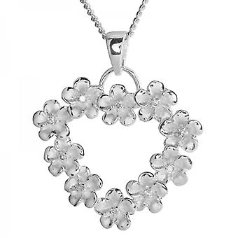 Shipton and Co Ladies Shipton And Co Silver And Cubic Zirconia In Frosted Flowers Heartshaped Pendant Including A 16 Silver Chain TPE001CZ