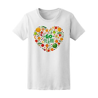 Go Vegan Vegetables Heart Doodle Tee Women's -Image by Shutterstock