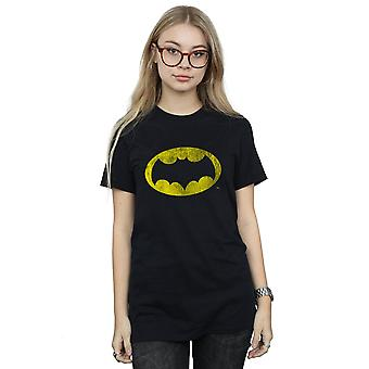 DC Comics Women's Batman TV Series Distressed Logo Boyfriend Fit T-Shirt
