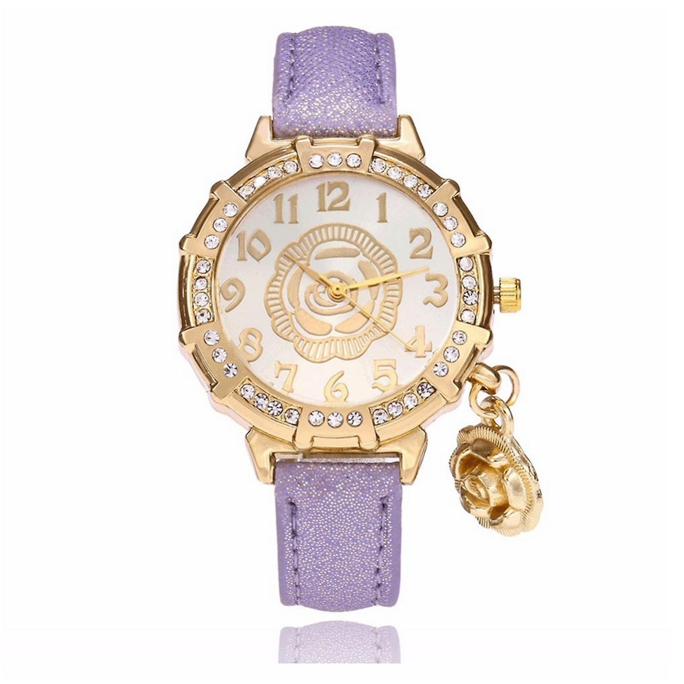 Classy Yellow Gold Flower Watch Luxury Stones Elegant Time PURPLE