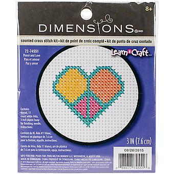 Learn-A-Craft Peace And Love Counted Cross Stitch Kit-3