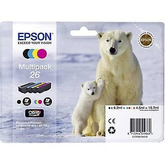 Epson Ink T2616, 26 Original Set Black, Cyan, Magenta, Yellow C13T26164010