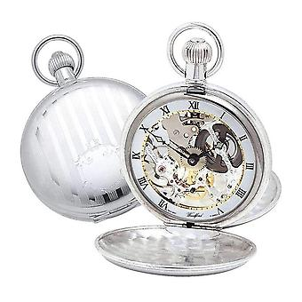 Woodford Albert Double Full Hunter Swiss Skeleton Pocket Watch - Silver