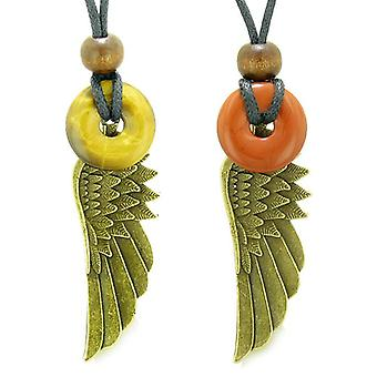 Guardian Angel Wings Magic Amulets Love Couples Best Friends Tiger Eye Red Jasper Donut Necklaces