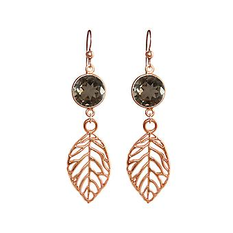 GEMSHINE ladies earrings and smoking quartz and leaves. Nature earrings in 925 Silver, gold plated or rose. Made in Munich / Germany. Quality of jewelry.