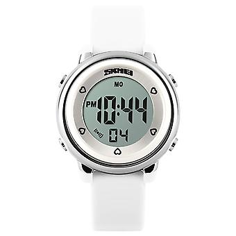 Skmei Girls White Digital Watch 50m Water Resistant With Stopwatch Alarm Ages 5+ DG1100
