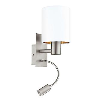 Eglo Pasteri Bedside LED Wall Reading Lamp With White And Copper Shade