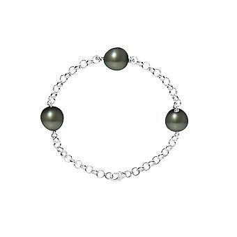 Bracelet 3 Perles de Tahiti 9 mm en Argent 925/1000