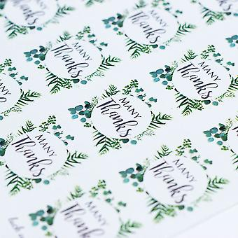 MANY THANKS Single Sticker Sheet BOTANCIAL WREATH with 35 Stickers