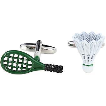 Zennor Badminton-Schläger und Federball Manschettenknöpfe - grün/weiß