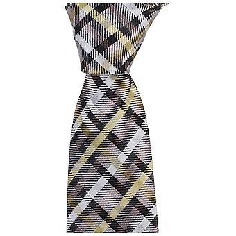 Corbatas de Knightsbridge tartán tejido Tie - marrón/mostaza/blanco