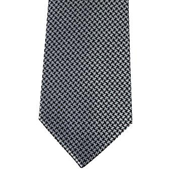 David Van Hagen Houndstooth Tie - Black/Silver