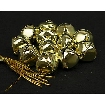 12 Gold 35mm Jingle Bells for Crafts & Christmas Tree Decorating   Craft Bells