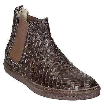 Women's chelsea boots in woven brown leather handmade