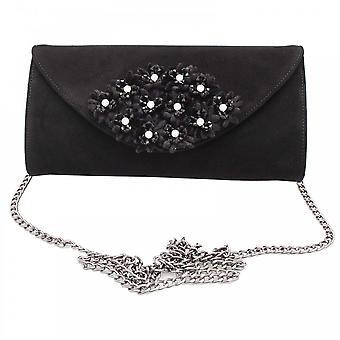 Peter Kaiser Black Suede Leather Floral Clutch Bag