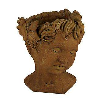 Designer Stone Rustic Brown Cherub Head Concrete Planter