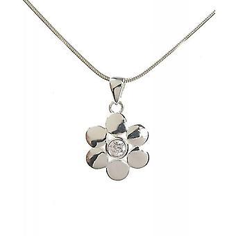 Cavendish francuski srebro i rundy CZ płatki kwiat wisiorek bez łańcucha