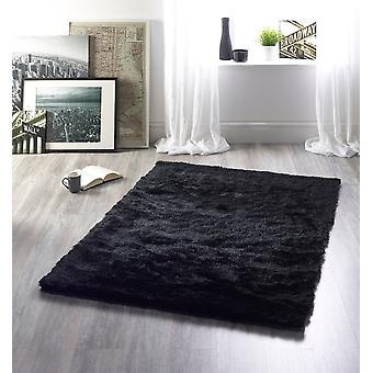 Shimmer zwarte rechthoek tapijten Plain/bijna gewoon tapijten